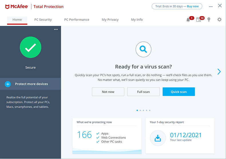 McAfee Total Protection - Inicio