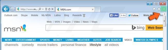 restablecer la configuración de Internet Explorer haciendo clic en el icono de la ruedecita