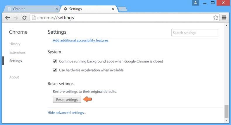Cómo restablecer la configuración predeterminada de Google Chrome: configuración avanzada