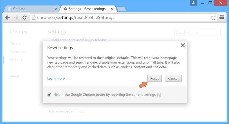 Cómo restablecer la configuración de Google Chrome: confirme que desea restablecer la configuración predeterminada de Chrome haciendo clic en el botón Restablecer