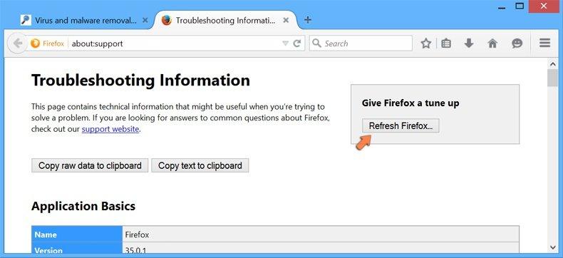 Cómo restablecer la configuración predeterminada de Mozilla Firefox: hacer clic en el botón Restablecer firefox
