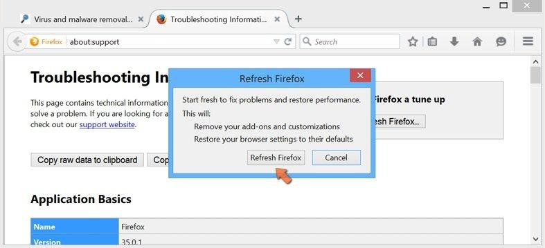 Cómo restablecer la configuración predeterminada de Mozilla Firefox: confirmar la recuperación de la configuración anterior haciendo clic en el botón Restablecer