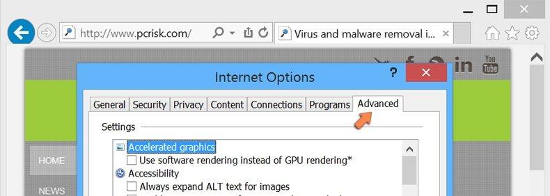 Cómo restablecer la configuración predeterminada de Internet Explorer en Windows 8 - pestaña de opciones avanzadas