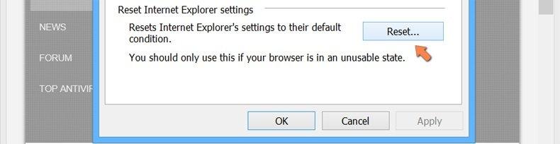 Cómo restablecer la configuración predeterminada de Internet Explorer en Windows 8 - hacer clic en el botón de restablecer en la pestaña de opciones avanzadas