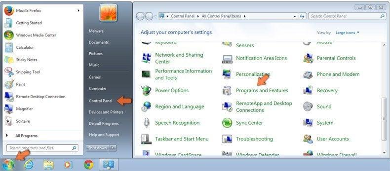 Cómo acceder a Programas y características (desinstalar) en Windows 7