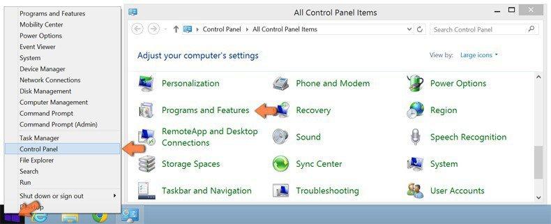 Cómo acceder a Programas y características (desinstalar) en Windows 8