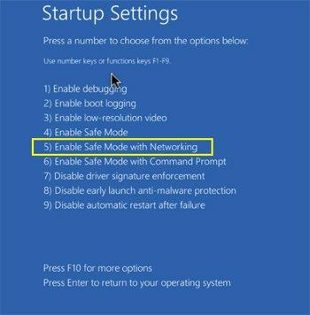 mode sans échec sous Windows 10 avec des fonctions réseau