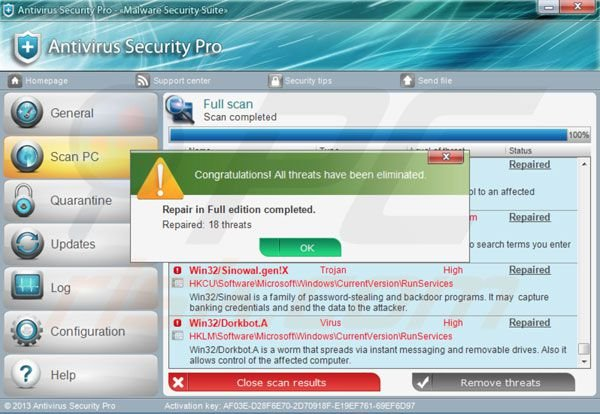 Antivirus Security Pro después de introducir la clave de activación