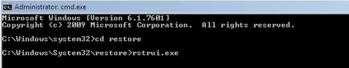 restaurar sistema usando símbolo de sistema rstrui.exe