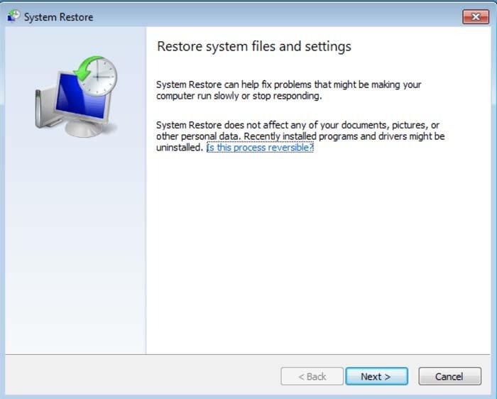 restaurar archivos del sistema y configuraciones