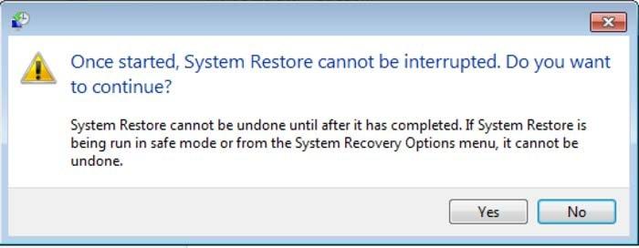 ejecutar restauración de sistema