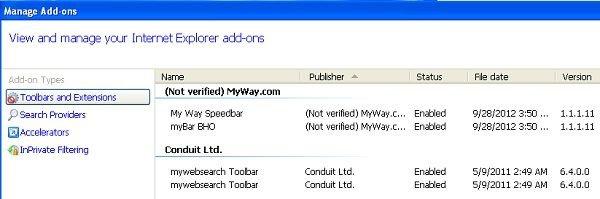 desinstalar la barra my way search toolbar de internet explorer