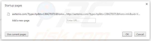 Eliminando Aartemis de la página de inicio de Google Chrome
