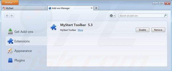 Eliminando mystart.com de las extensiones de Mozilla Firefox