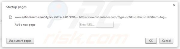 Eliminando nationzoom.com de la página de inicio de Google Chrome