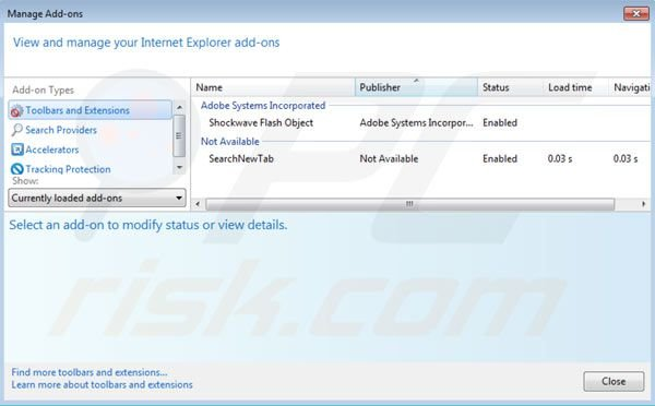 Eliminar websearch.searchbomb.info de las extensiones de Internet Explorer