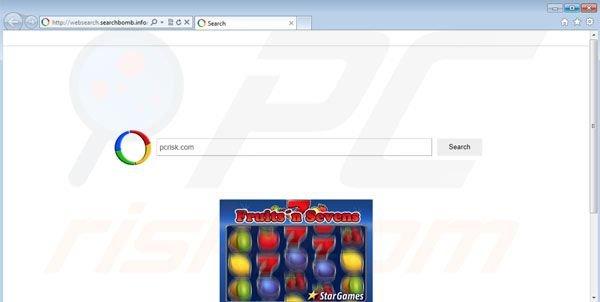 Virus de redireccionamiento websearch.searchbomb.info
