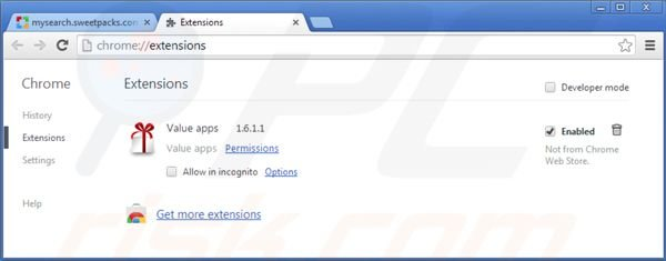 Eliminando mysearch.sweetpacks.com de las extensiones de Google Chrome