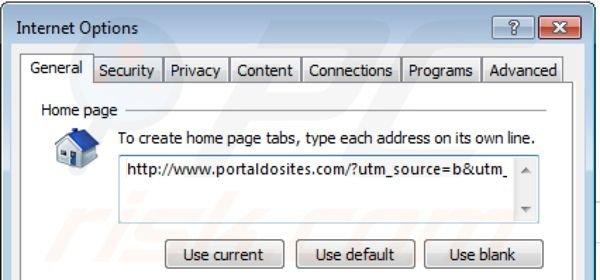 portaldosites.com de la página de inicio de Internet Explorer