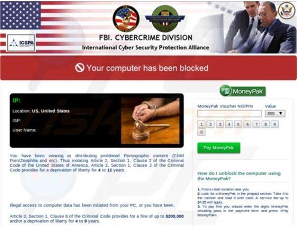 ansomware aprovechándose del nombre del FBI