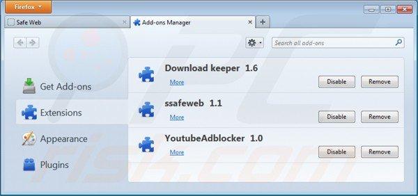 Eliminando safeweb app de Mozilla Firefox paso 2