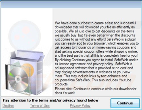 Instalador de programas gratuitos usado para distribuir safeweb app