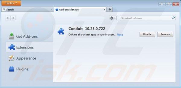 Eliminando Search Protect by Conduit de las extensiones de Mozilla Firefox