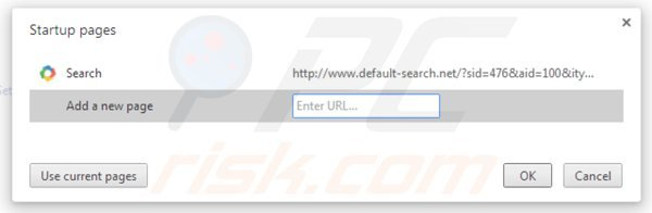 Eliminando default-search.net de la página de inicio de Google Chrome