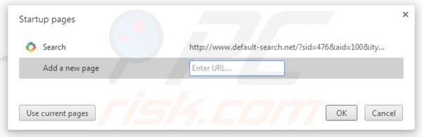Eliminando default-search.net de la página de inicio de Google Chrome