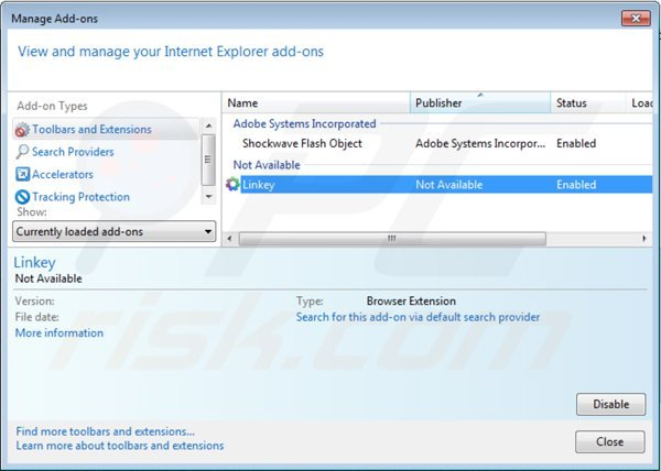 Eliminando default-search.net de las extensiones de Internet Explorer