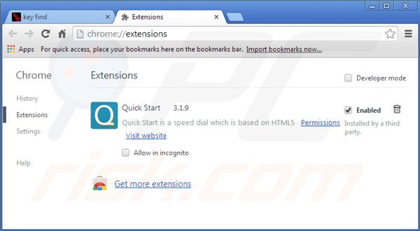 Eliminando key-find.com de las extensiones de Google Chrome
