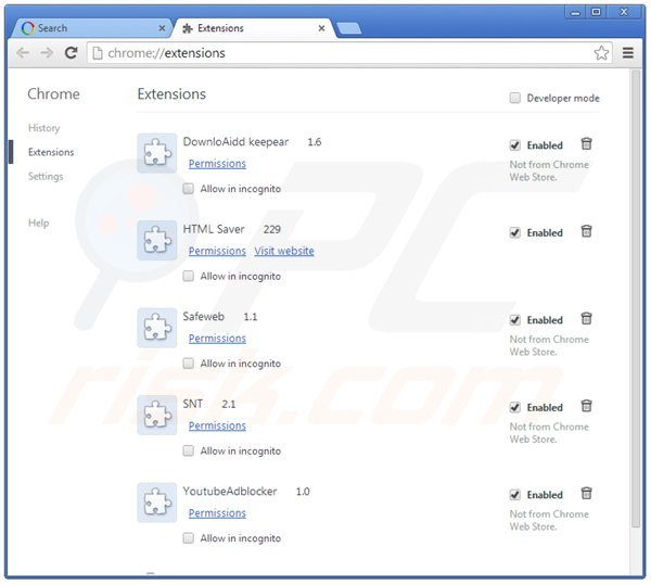 Eliminando las extensiones relacionadas con websearch.searchissimple.com de Google Chrome
