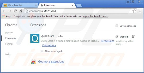 Eliminando istart.webssearches.com de las extensiones de Google Chrome