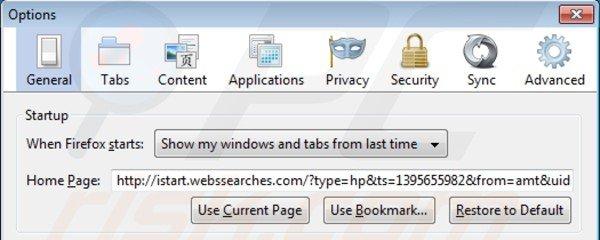 istart.webssearches.com de la página de inicio de Mozilla Firefox