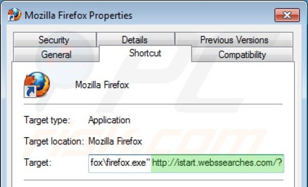 está incluido después de c program files mozilla firefox firefox exe