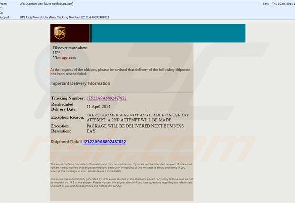 propagación de cryptowall a través de los emails basura UPS