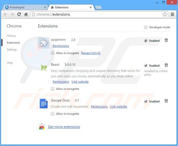 las extensiones relacionadas con portalsepeti.com de Google Chrome