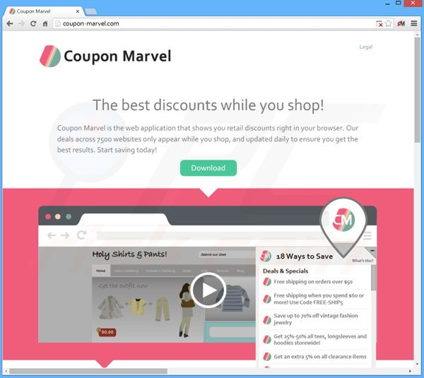 Coupon Marvel adware