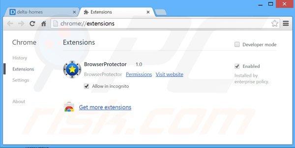 Eliminando las extensiones relacionadas con delta-homes.com de Google Chrome