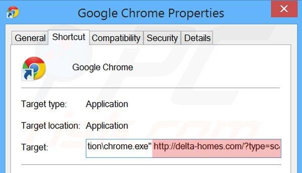 Eliminar delta-homes.com del destino del acceso directo de Google Chrome paso 2