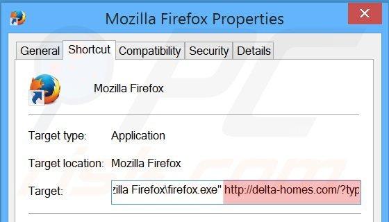 Eliminar delta-homes.com del destino del acceso directo de Mozilla Firefox paso 2