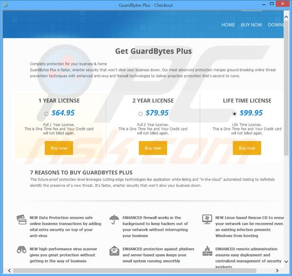 Sitio web fraudulento destinado a vender las licencias del falso antivirus selling guardbytes