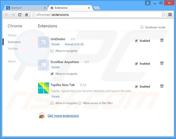 Eliminando los redireccionamientos a search.safer.com de Google Chrome paso 2