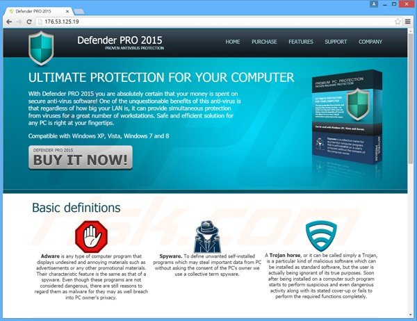 defender pro 2015 sitio web del falso antivirus