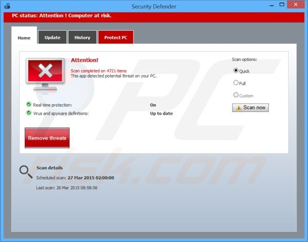 falso antivirus security defender