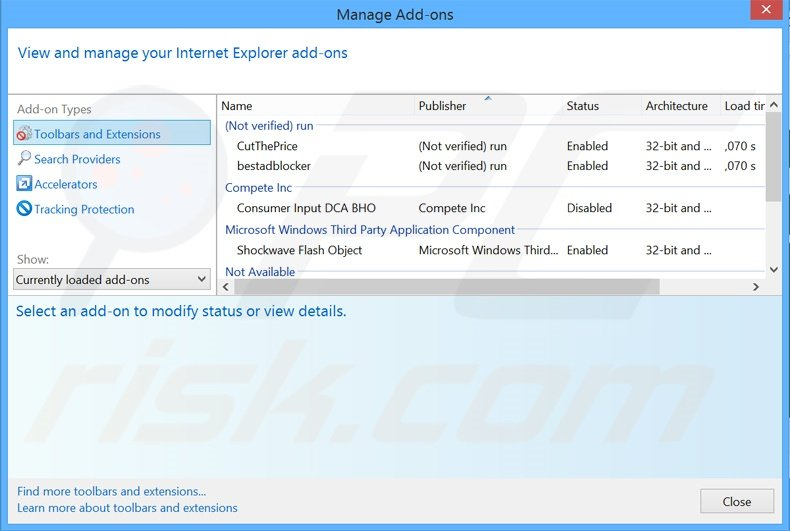 Removing Surf Speed Monitor ads from Internet Explorer step 2