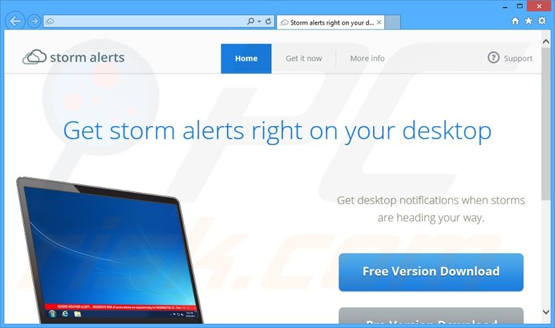 StormAlerts adware