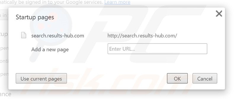 Eliminando search.results-hub.com de la página de inicio de Google Chrome