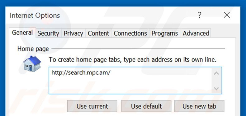 Eliminando search.mpc.an de la página de inicio de Internet Explorer