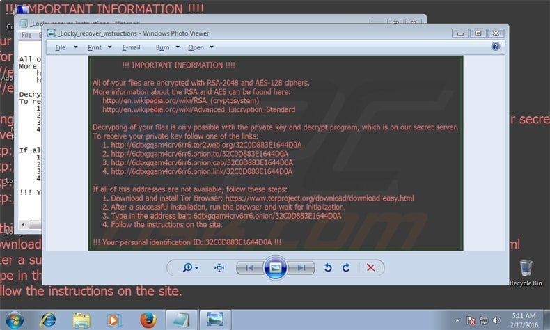 virus criptográfico locky atacando el equipo de sus víctimas
